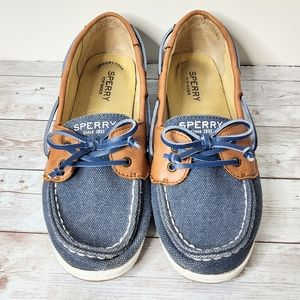 Sperry Firefish Tan/Blue Leather/Canvas Boat Shoes
